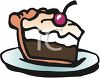 Thick Piece of Chocolate Cream Pie with a Cherry on Top clipart