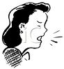 Vintage Cartoon of a Woman Coughing with Germs Coming From Her Mouth clipart
