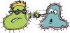 Cartoon of a Bully Germ Threatening Another Germ clipart