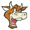 Cartoon of a Crazy Cow Depicting Mad Cow Disease clipart