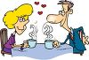 Couple in Love. Man and Woman on a Date Having Coffee clipart