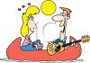 Couple in Love. Man Serenading Woman in Canoe clipart