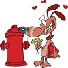 Couple in Love. Dog and Fire Hydrant clipart