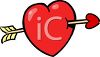 Heart with Cupids Arrow clipart
