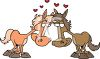 Cartoon Horses in Love clipart