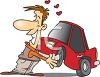 Cartoon of a Happy Man in Love with His New Car clipart