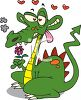 Cartoon of a Dragon in Love clipart