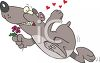Cartoon of a Bear in Love Carrying a Flower clipart