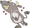 Cartoon of a Bull in Love clipart
