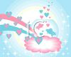 Fish in a Bowl with Hearts on a Blue Sky clipart