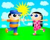 Cute Cartoon Man and Woman Running to Hug on a Sunny Day clipart