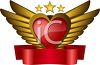 Valentine Design of a Winged Heart with a Ribbon  clipart