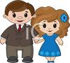 Cute Cartoon Man and Woman Holding Hands in Love clipart