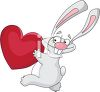 Funny Rabbit Running with a Heart clipart