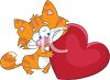 Ragtag Kitten Holding a Heart clipart