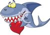 Cartoon of a Smiling Shark Holding a Heart for Valentine's Day clipart