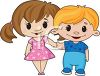 Cartoon Sweethearts Holding Hands clipart
