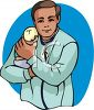 Pediatrician Holding a Newborn Infant clipart