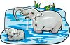 Mother Elephant Washing Her Baby in a Pond clipart