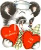 Retro Valentine of a Puppy Wearing a Sailor Hat clipart