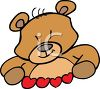 Cartoon Bear Holding Paper Hearts clipart