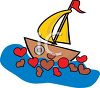 Valentine Sailboat with Hearts in the Water clipart