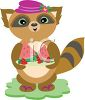 Whimsical Raccoon Holding a Tray of Fruit clipart