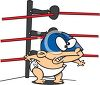 Tough Baby in a Wrestling Ring Wearing a Mask clipart