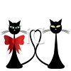 Skinny Black Cats in Love clipart