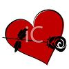 Red Heart with a Black Rose clipart