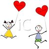 Stick Kids Holding Heart Shaped Balloons for Valentine's Day clipart