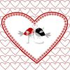 Lovebirds on a Heart Background For Valentine's Day clipart