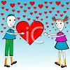 Little Boy Giving a Little Girl a Heart Shaped Valentine clipart