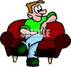 Man Waiting for His Date on a Sofa clipart