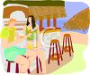 Couple Having Drinks at a Tiki Bar clipart
