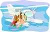 Interracial Couple Snorkeling from a Water Plane clipart