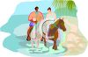 Interracial Couple on a Romantic Horseback Ride on the Beach clipart