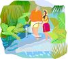 Couple on Vacation Walking on a Tropical Beach clipart