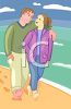 Man and Woman Walking on the Beach clipart