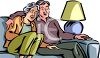 Elderly Couple Watching Television Together clipart