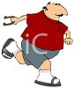 Fat Guy Wearing Sandals Throwing Horseshoes clipart