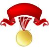 Gold Medal with a Red Ribbon clipart