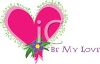 Whimsical Valentine Design of a Heart with Flowers and Be My Love Text clipart