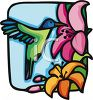Stained Glass Style Hummingbird Drinking from a Flower clipart