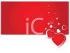 Valentine Banner of Falling Hearts on a Red Rectangle clipart