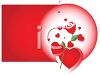 Valentine Design of a Red Square with a Rose and Hearts in a White Oval clipart
