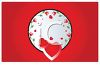 Hearts and Roses in a White Oval on a Red Banner clipart