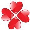 Red Hearts Making a Clover clipart
