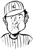 Black and White Vintage Baseball Player with a Wad of Tobacco in His Cheek clipart