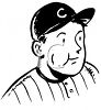 Black and White Vintage Baseball Player with Chewing Tobacco in His Cheek clipart